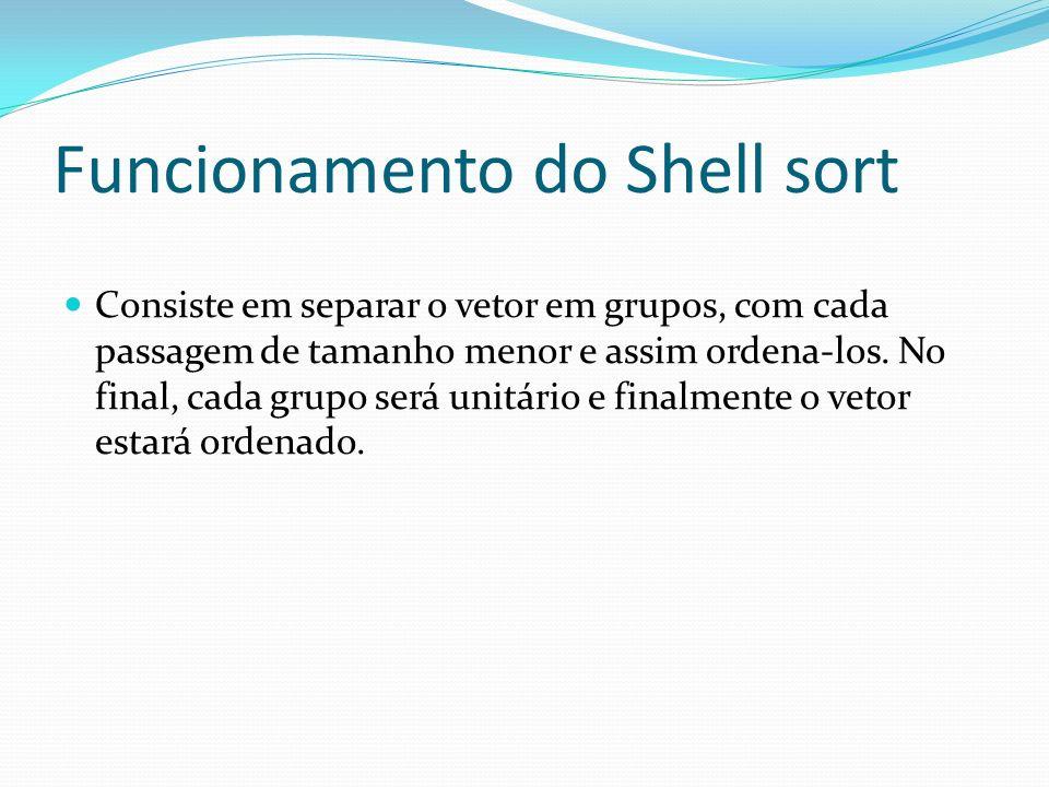 Funcionamento do Shell sort Consiste em separar o vetor em grupos, com cada passagem de tamanho menor e assim ordena-los. No final, cada grupo será un