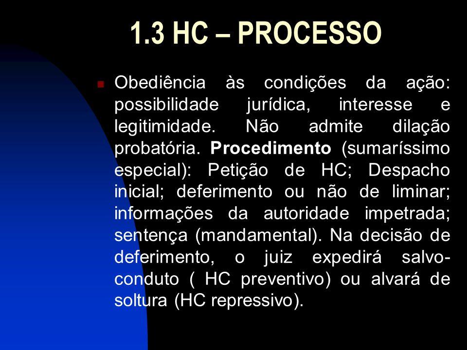 1.3 HC – PROCESSO Obediência às condições da ação: possibilidade jurídica, interesse e legitimidade. Não admite dilação probatória. Procedimento (suma