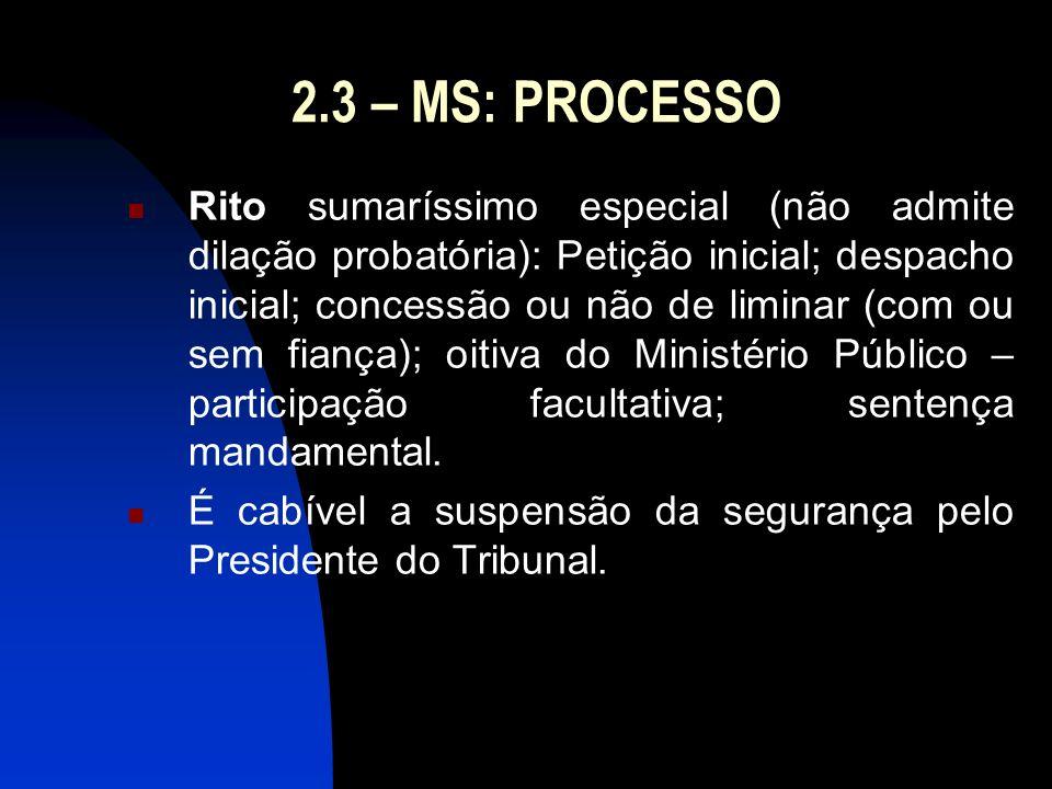 2.3 – MS: PROCESSO Rito sumaríssimo especial (não admite dilação probatória): Petição inicial; despacho inicial; concessão ou não de liminar (com ou s