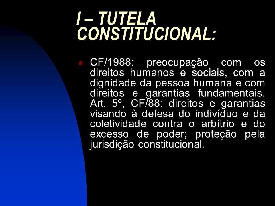 I – TUTELA CONSTITUCIONAL: CF/1988: preocupação com os direitos humanos e sociais, com a dignidade da pessoa humana e com direitos e garantias fundame