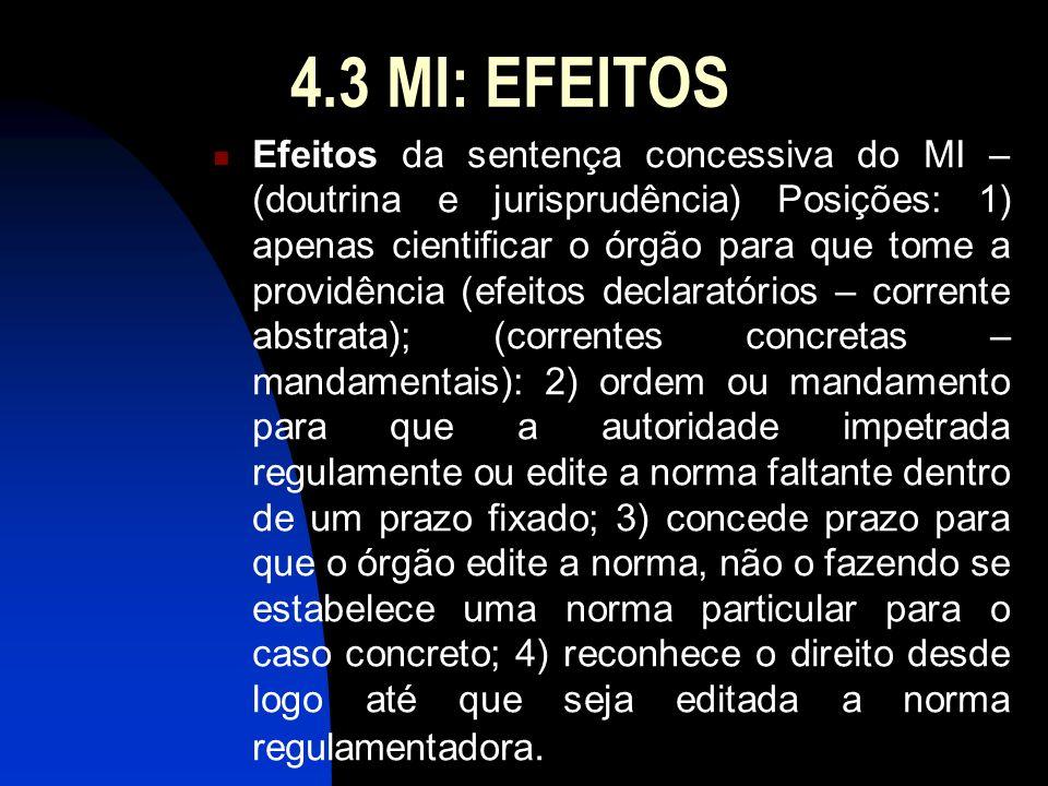 4.3 MI: EFEITOS Efeitos da sentença concessiva do MI – (doutrina e jurisprudência) Posições: 1) apenas cientificar o órgão para que tome a providência