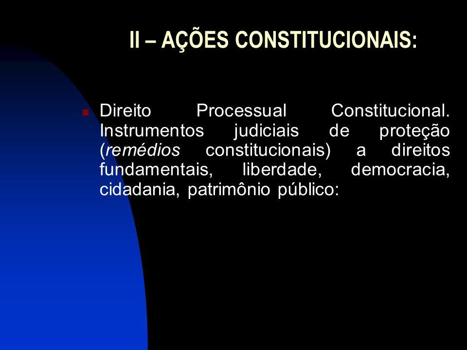 II – AÇÕES CONSTITUCIONAIS: Direito Processual Constitucional. Instrumentos judiciais de proteção (remédios constitucionais) a direitos fundamentais,