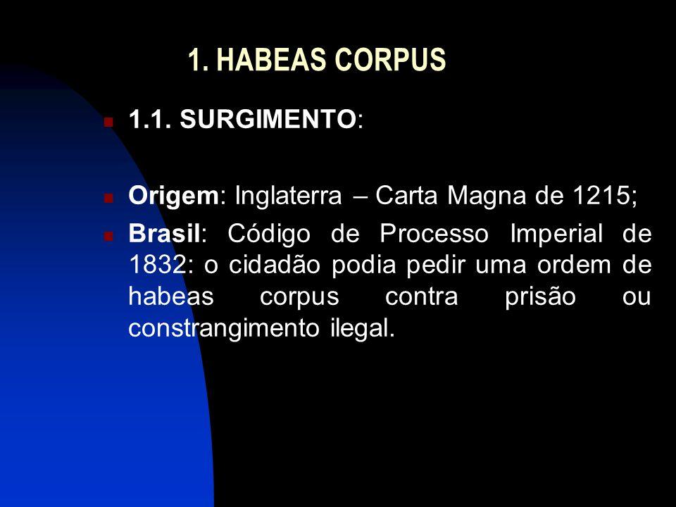 1. HABEAS CORPUS 1.1. SURGIMENTO: Origem: Inglaterra – Carta Magna de 1215; Brasil: Código de Processo Imperial de 1832: o cidadão podia pedir uma ord