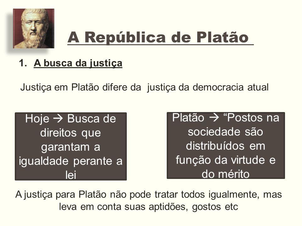 A República de Platão 1.A busca da justiça Justiça em Platão difere da justiça da democracia atual Hoje Busca de direitos que garantam a igualdade per