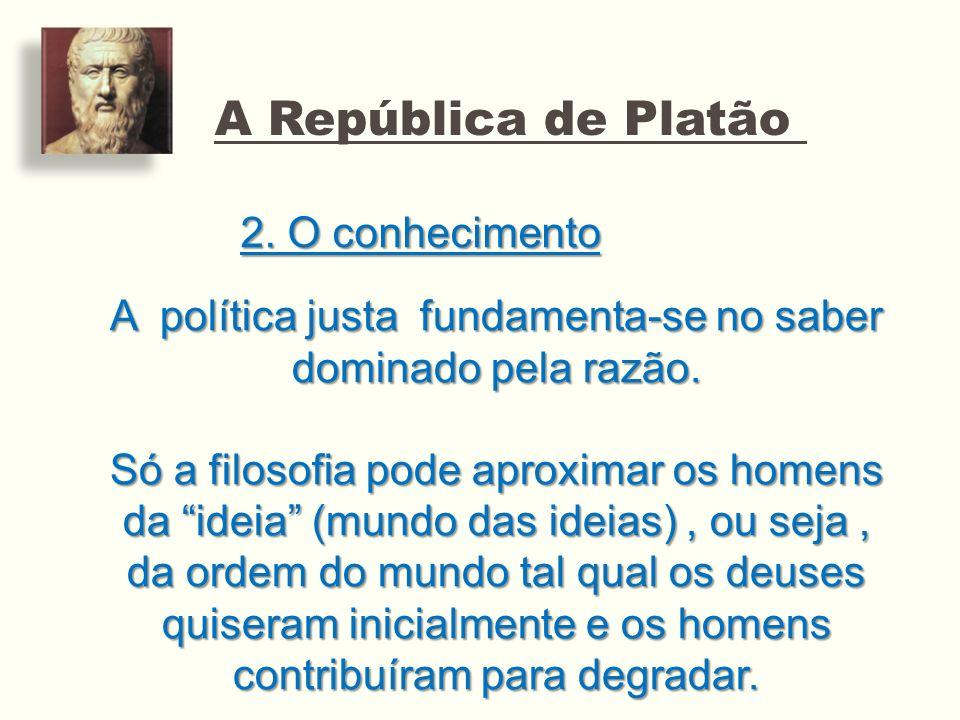 A República de Platão 2. O conhecimento A política justa fundamenta-se no saber dominado pela razão. Só a filosofia pode aproximar os homens da ideia