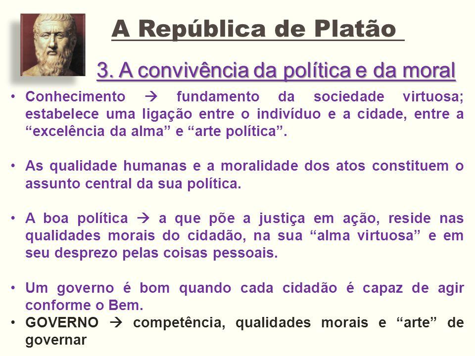3. A convivência da política e da moral A República de Platão Conhecimento fundamento da sociedade virtuosa; estabelece uma ligação entre o indivíduo