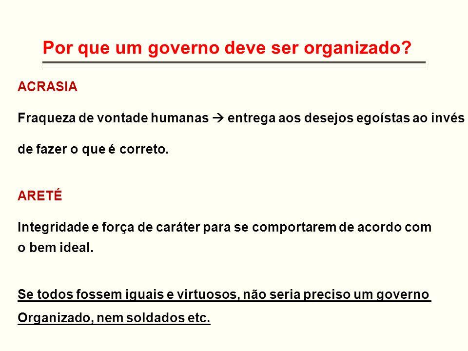 Por que um governo deve ser organizado? ACRASIA Fraqueza de vontade humanas entrega aos desejos egoístas ao invés de fazer o que é correto. ARETÉ Inte