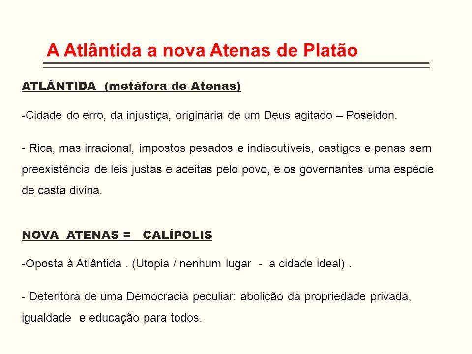 A Atlântida a nova Atenas de Platão ATLÂNTIDA (metáfora de Atenas) -Cidade do erro, da injustiça, originária de um Deus agitado – Poseidon. - Rica, ma