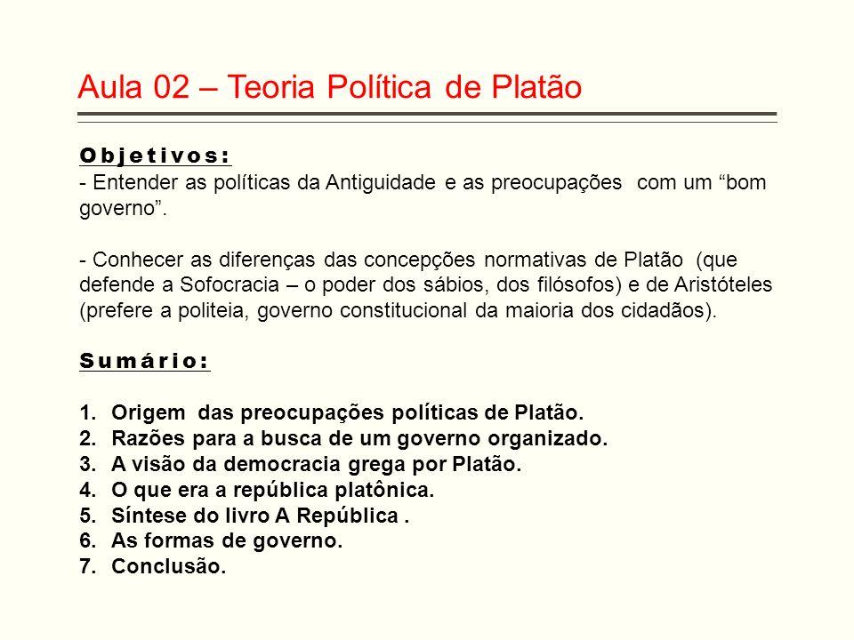 Aula 02 – Teoria Política de Platão Objetivos: - Entender as políticas da Antiguidade e as preocupações com um bom governo. - Conhecer as diferenças d