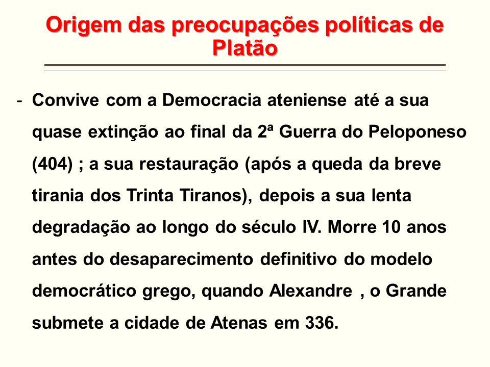 Origem das preocupações políticas de Platão -Convive com a Democracia ateniense até a sua quase extinção ao final da 2ª Guerra do Peloponeso (404) ; a