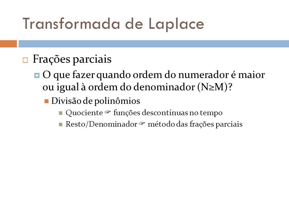Transformada de Laplace Frações parciais O que fazer quando ordem do numerador é maior ou igual à ordem do denominador (NM)? Divisão de polinômios Quo