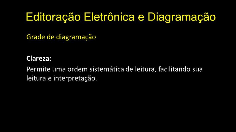 Editoração Eletrônica e Diagramação Grade de diagramação Clareza: Permite uma ordem sistemática de leitura, facilitando sua leitura e interpretação.