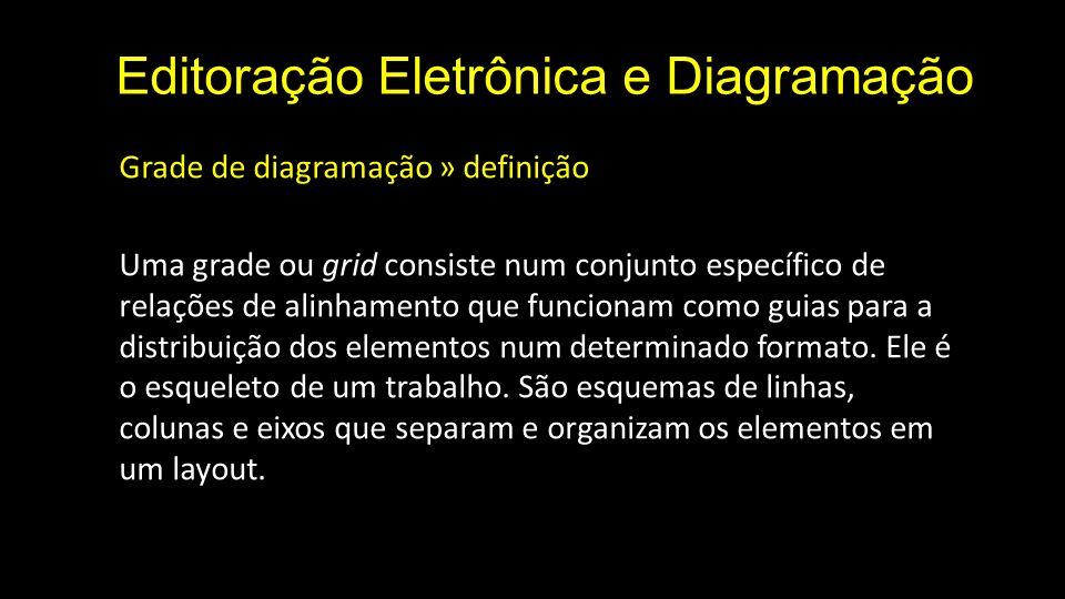Editoração Eletrônica e Diagramação Grade de diagramação » definição Uma grade ou grid consiste num conjunto específico de relações de alinhamento que