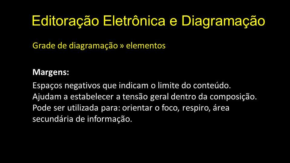 Editoração Eletrônica e Diagramação Grade de diagramação » elementos Margens: Espaços negativos que indicam o limite do conteúdo. Ajudam a estabelecer