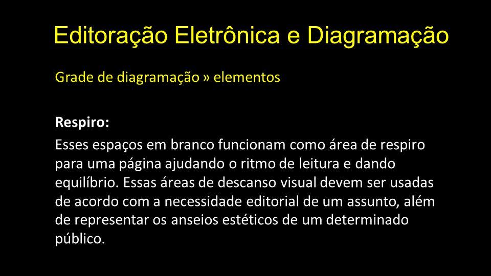 Editoração Eletrônica e Diagramação Grade de diagramação » elementos Respiro: Esses espaços em branco funcionam como área de respiro para uma página a