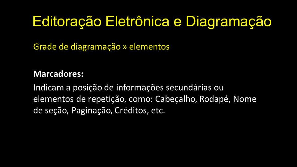Editoração Eletrônica e Diagramação Grade de diagramação » elementos Marcadores: Indicam a posição de informações secundárias ou elementos de repetiçã
