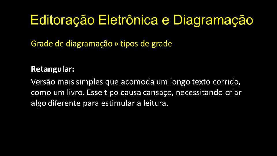 Editoração Eletrônica e Diagramação Grade de diagramação » tipos de grade Retangular: Versão mais simples que acomoda um longo texto corrido, como um