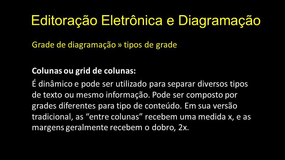 Editoração Eletrônica e Diagramação Grade de diagramação » tipos de grade Colunas ou grid de colunas: É dinâmico e pode ser utilizado para separar div