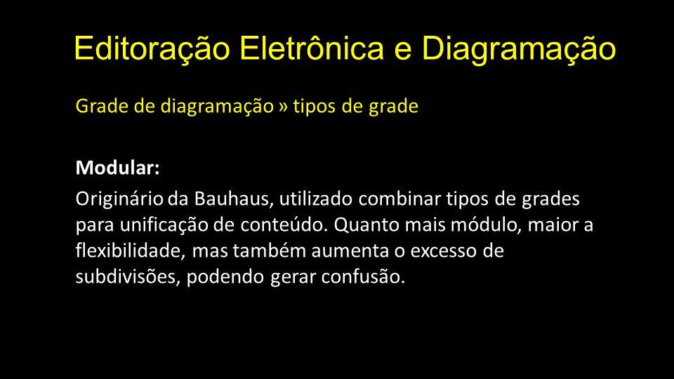 Editoração Eletrônica e Diagramação Grade de diagramação » tipos de grade Modular: Originário da Bauhaus, utilizado combinar tipos de grades para unif