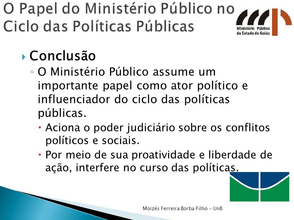 Conclusão O Ministério Público assume um importante papel como ator político e influenciador do ciclo das políticas públicas. Aciona o poder judiciári
