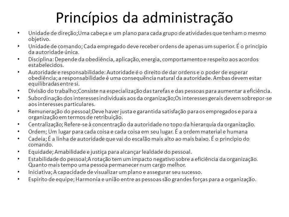 Princípios da administração Unidade de direção;Uma cabeça e um plano para cada grupo de atividades que tenham o mesmo objetivo. Unidade de comando; Ca