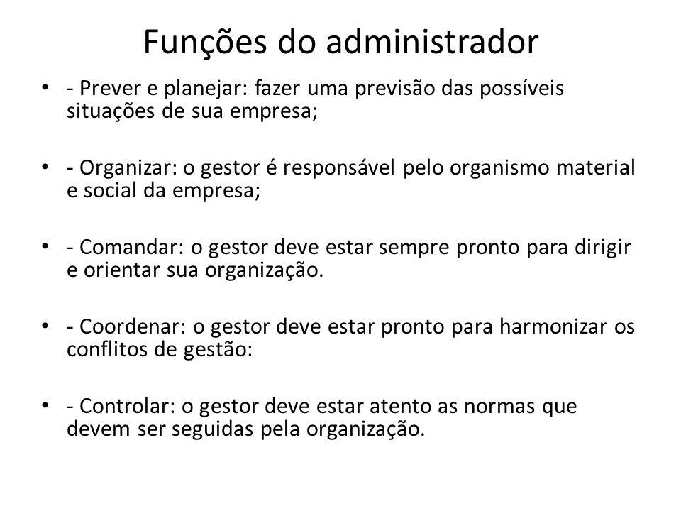 Funções do administrador - Prever e planejar: fazer uma previsão das possíveis situações de sua empresa; - Organizar: o gestor é responsável pelo orga