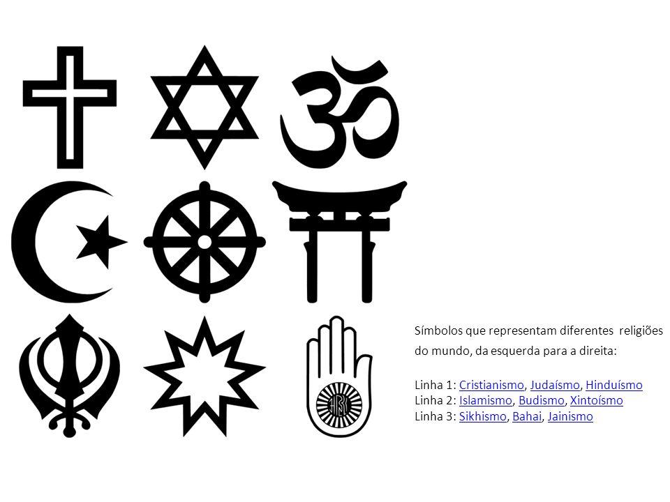 Símbolos que representam diferentes religiões do mundo, da esquerda para a direita: Linha 1: Cristianismo, Judaísmo, Hinduísmo Linha 2: Islamismo, Bud