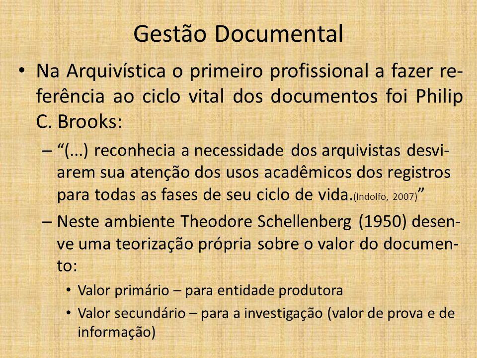 Gestão Documental Na Arquivística o primeiro profissional a fazer re- ferência ao ciclo vital dos documentos foi Philip C.