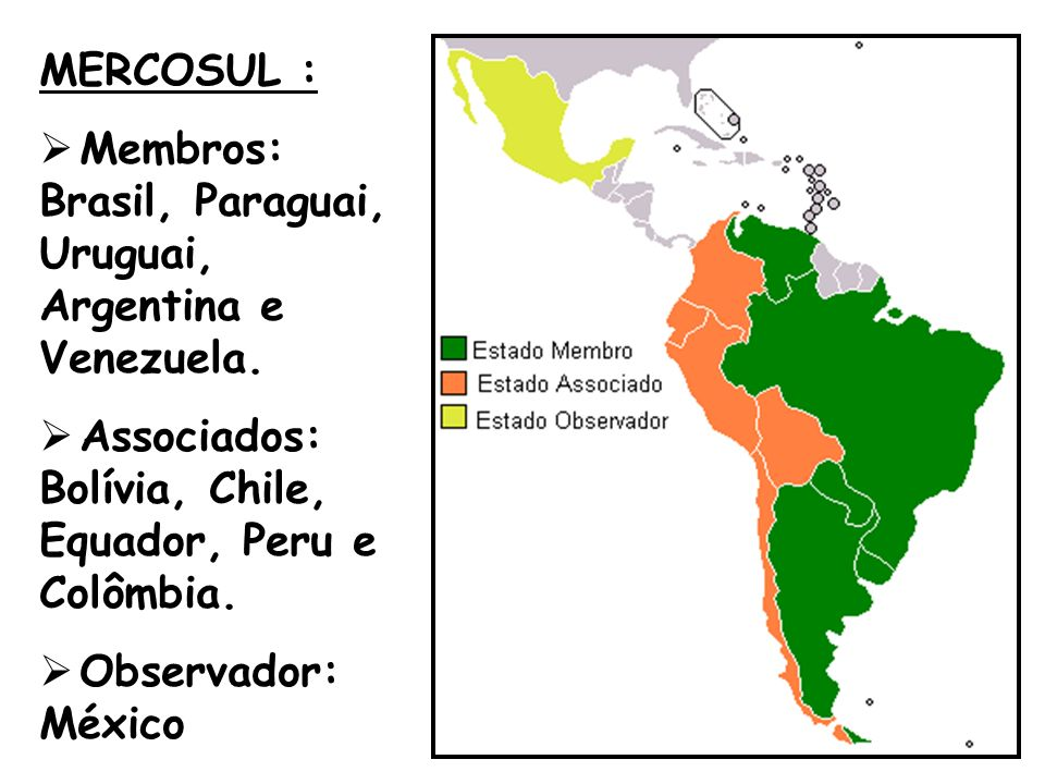 MERCOSUL : Membros: Brasil, Paraguai, Uruguai, Argentina e Venezuela. Associados: Bolívia, Chile, Equador, Peru e Colômbia. Observador: México