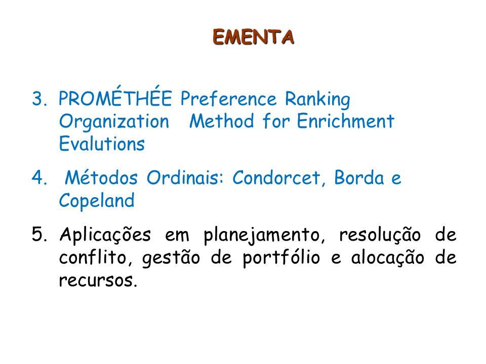EMENTA 3.PROMÉTHÉE Preference Ranking Organization Method for Enrichment Evalutions 4. Métodos Ordinais: Condorcet, Borda e Copeland 5.Aplicações em p