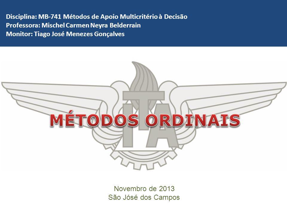 Novembro de 2013 São Jósé dos Campos Disciplina: MB-741 Métodos de Apoio Multicritério à Decisão Professora: Mischel Carmen Neyra Belderrain Monitor:
