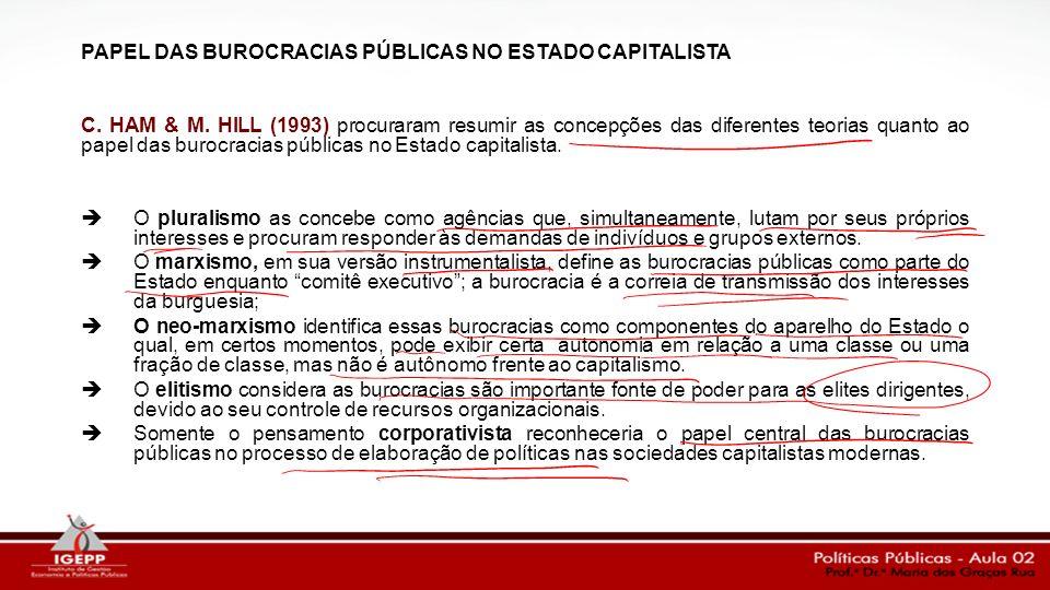 PAPEL DAS BUROCRACIAS PÚBLICAS NO ESTADO CAPITALISTA C. HAM & M. HILL (1993) procuraram resumir as concepções das diferentes teorias quanto ao papel d