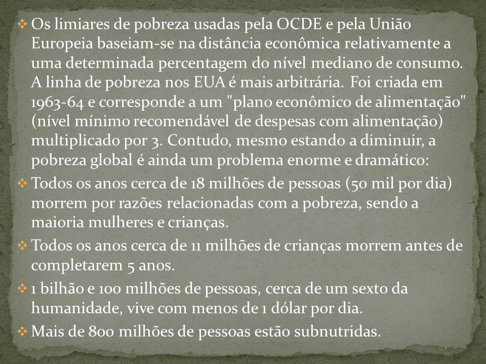 Os limiares de pobreza usadas pela OCDE e pela União Europeia baseiam-se na distância econômica relativamente a uma determinada percentagem do nível mediano de consumo.