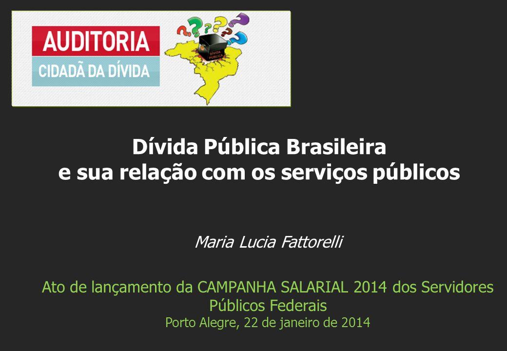 Maria Lucia Fattorelli Ato de lançamento da CAMPANHA SALARIAL 2014 dos Servidores Públicos Federais Porto Alegre, 22 de janeiro de 2014 Dívida Pública Brasileira e sua relação com os serviços públicos