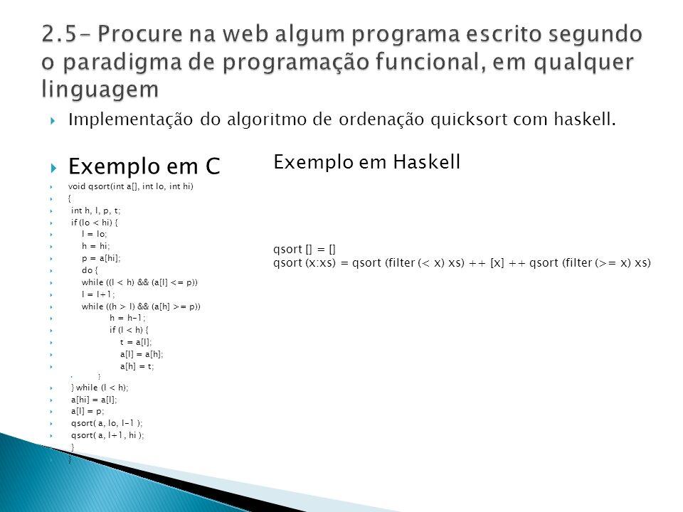 Implementação do algoritmo de ordenação quicksort com haskell.