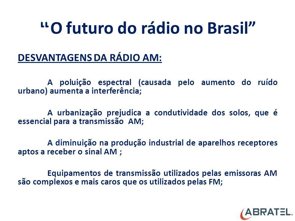 O futuro do rádio no Brasil DESVANTAGENS DA RÁDIO AM: A poluição espectral (causada pelo aumento do ruído urbano) aumenta a interferência; A urbanização prejudica a condutividade dos solos, que é essencial para a transmissão AM; A diminuição na produção industrial de aparelhos receptores aptos a receber o sinal AM ; Equipamentos de transmissão utilizados pelas emissoras AM são complexos e mais caros que os utilizados pelas FM;