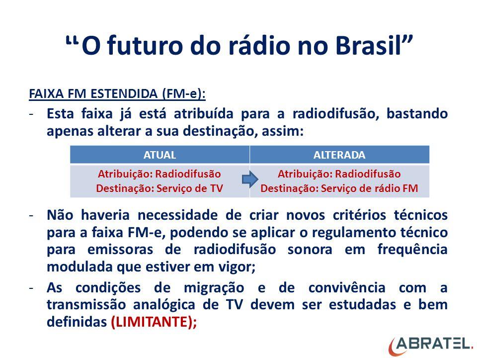 O futuro do rádio no Brasil FAIXA FM ESTENDIDA (FM-e): -Esta faixa já está atribuída para a radiodifusão, bastando apenas alterar a sua destinação, assim: -Não haveria necessidade de criar novos critérios técnicos para a faixa FM-e, podendo se aplicar o regulamento técnico para emissoras de radiodifusão sonora em frequência modulada que estiver em vigor; -As condições de migração e de convivência com a transmissão analógica de TV devem ser estudadas e bem definidas (LIMITANTE); ATUALALTERADA Atribuição: Radiodifusão Destinação: Serviço de TV Atribuição: Radiodifusão Destinação: Serviço de rádio FM