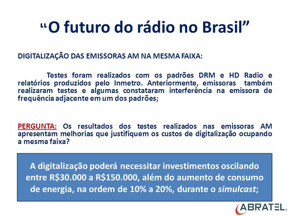 O futuro do rádio no Brasil DIGITALIZAÇÃO DAS EMISSORAS AM NA MESMA FAIXA: Testes foram realizados com os padrões DRM e HD Radio e relatórios produzidos pelo Inmetro.