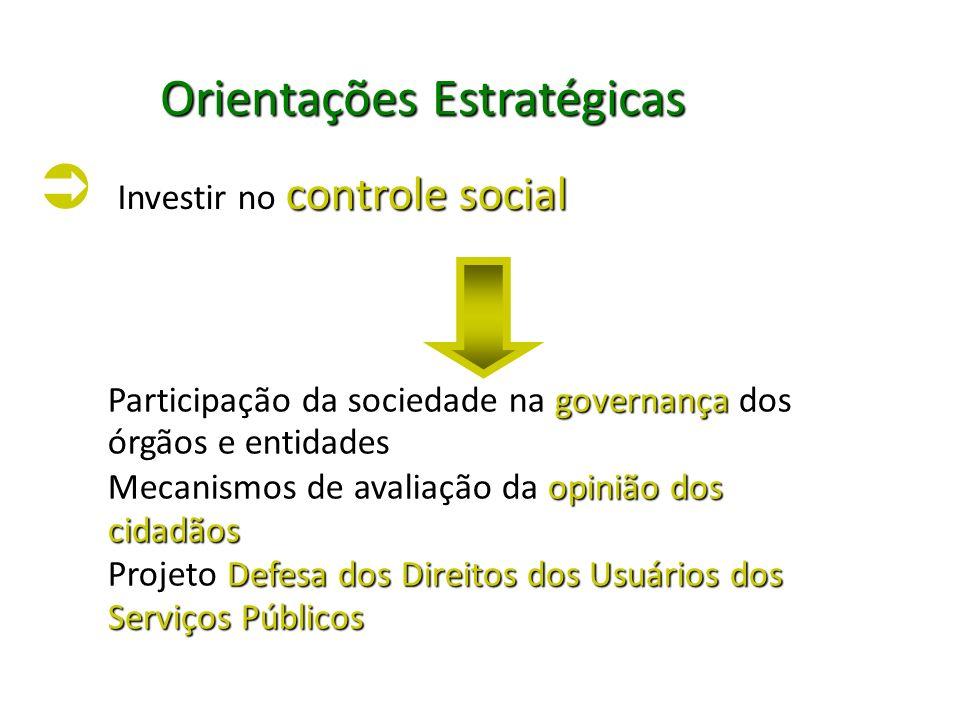 Orientações Estratégicas Investir no controle social Investir no controle social Participação da sociedade na governança dos órgãos e entidades Mecani