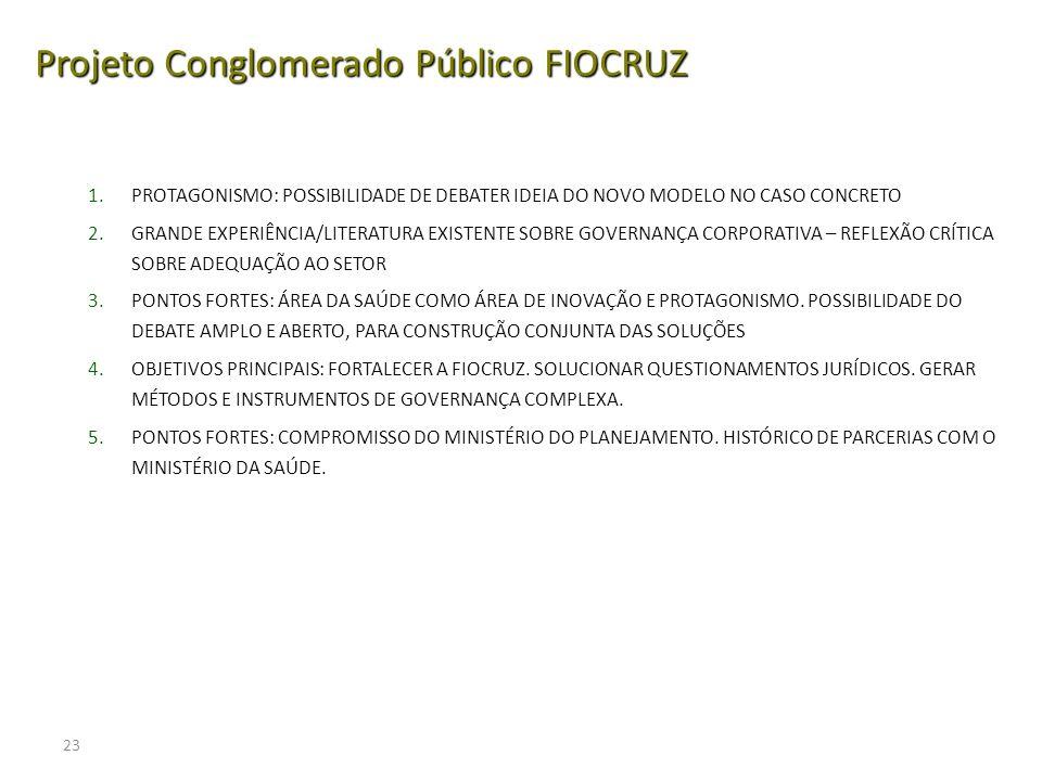 23 Projeto Conglomerado Público FIOCRUZ 1.PROTAGONISMO: POSSIBILIDADE DE DEBATER IDEIA DO NOVO MODELO NO CASO CONCRETO 2.GRANDE EXPERIÊNCIA/LITERATURA