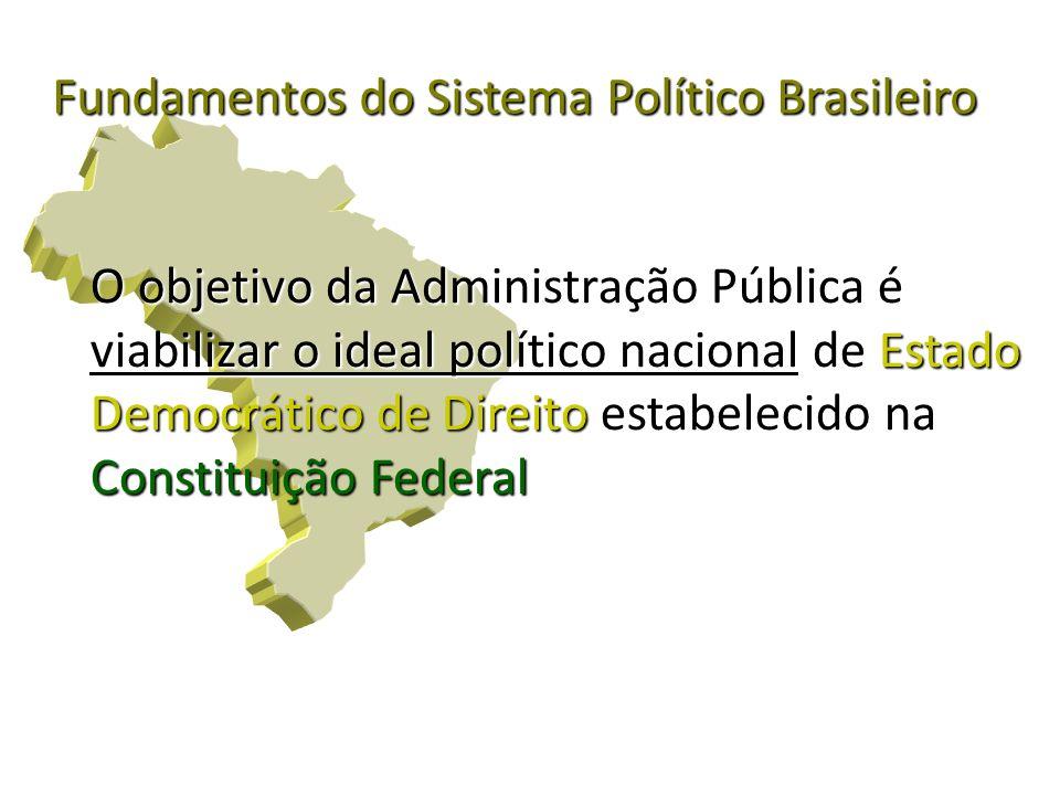 O objetivo da Administração Pública é viabilizar o ideal político nacional de Estado Democrático de Direito estabelecido na Constituição Federal Funda
