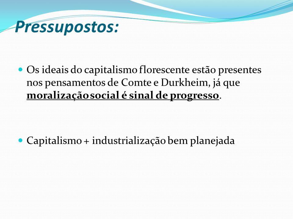 Pressupostos: Os ideais do capitalismo florescente estão presentes nos pensamentos de Comte e Durkheim, já que moralização social é sinal de progresso