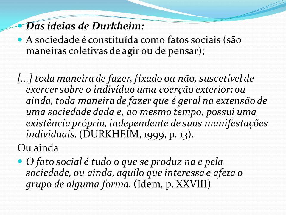 Os fatos sociais são exteriores aos indivíduos – porém são introjetados e exercem poder coercitivo; Para Durkheim a primeira regra é considerar os fatos sociais como coisas; Deve-se eliminar completamente a influência dos fatos subjetivos e individuais, dessa maneira garantiria a imparcialidade e a neutralidade, portanto esse é o motivo de considerar o fato social como coisas.