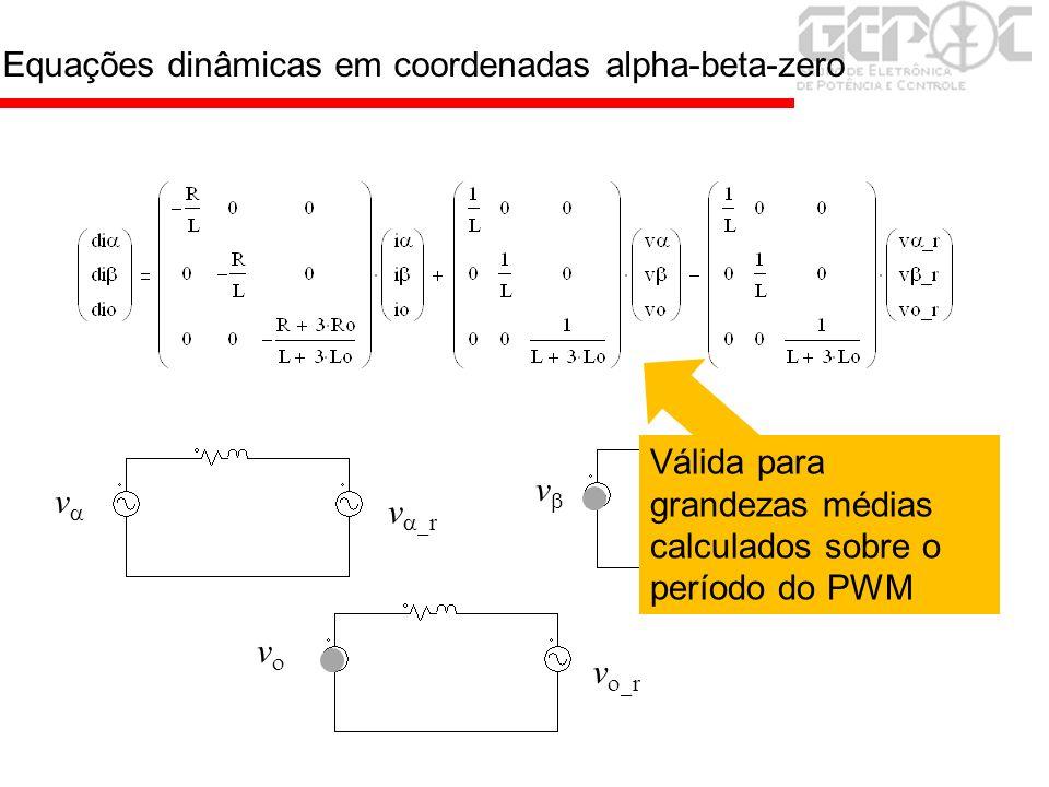 Equações dinâmicas em coordenadas alpha-beta-zero v v v v r V r v r Válida para grandezas médias calculados sobre o período do PWM