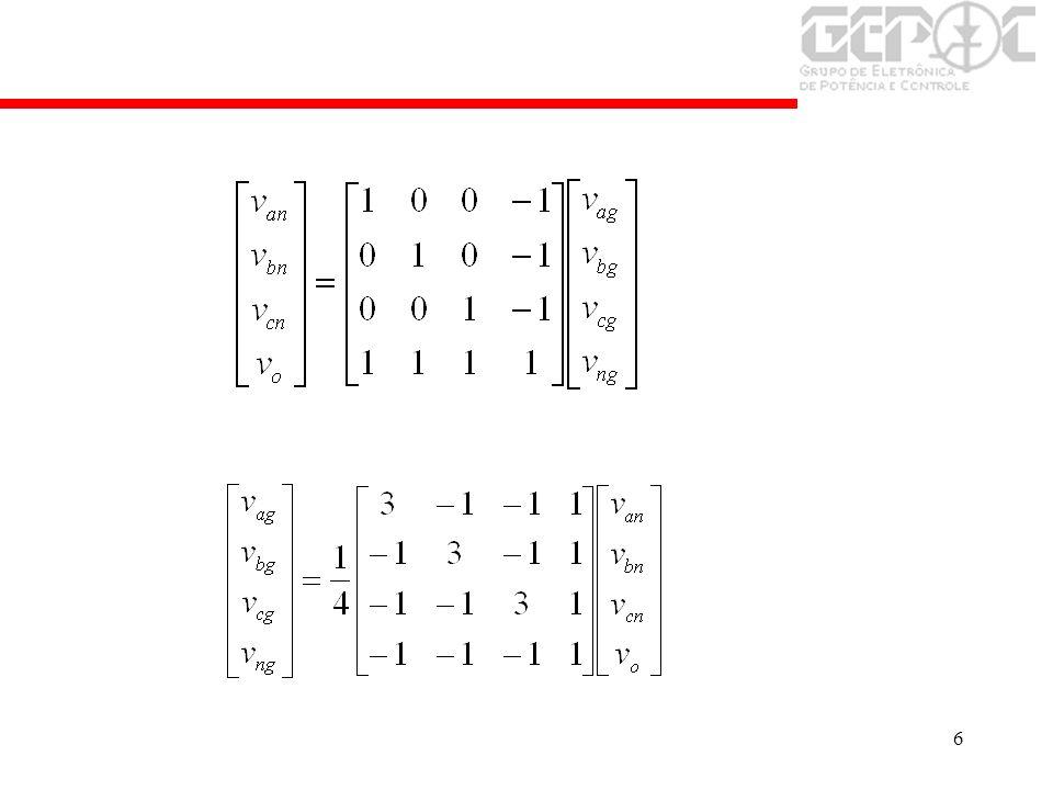 27 Modulação a partir das tensões de fase v an v bn v cn Conversor Filtro L Rede