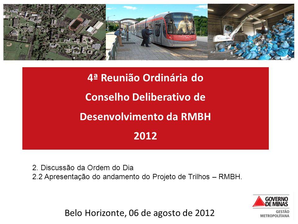 4ª Reunião Ordinária do Conselho Deliberativo de Desenvolvimento da RMBH 2012 2. Discussão da Ordem do Dia 2.2 Apresentação do andamento do Projeto de