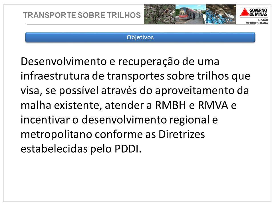 TRANSPORTE SOBRE TRILHOS Objetivos Desenvolvimento e recuperação de uma infraestrutura de transportes sobre trilhos que visa, se possível através do a