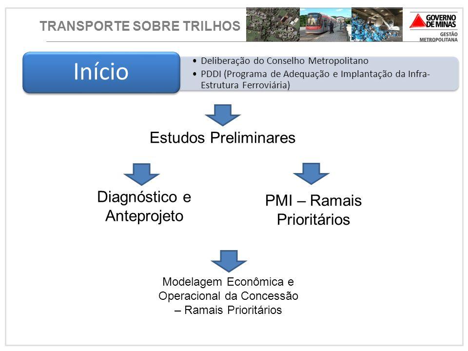 TRANSPORTE SOBRE TRILHOS Deliberação do Conselho Metropolitano PDDI (Programa de Adequação e Implantação da Infra- Estrutura Ferroviária) Início Diagn