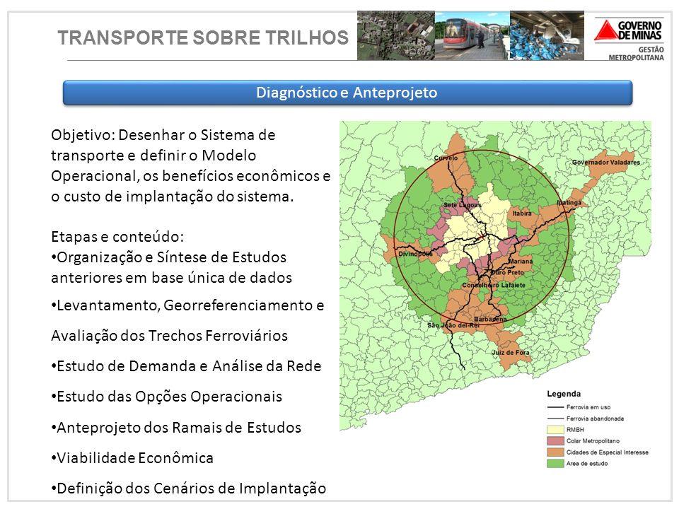 Diagnóstico e Anteprojeto Objetivo: Desenhar o Sistema de transporte e definir o Modelo Operacional, os benefícios econômicos e o custo de implantação