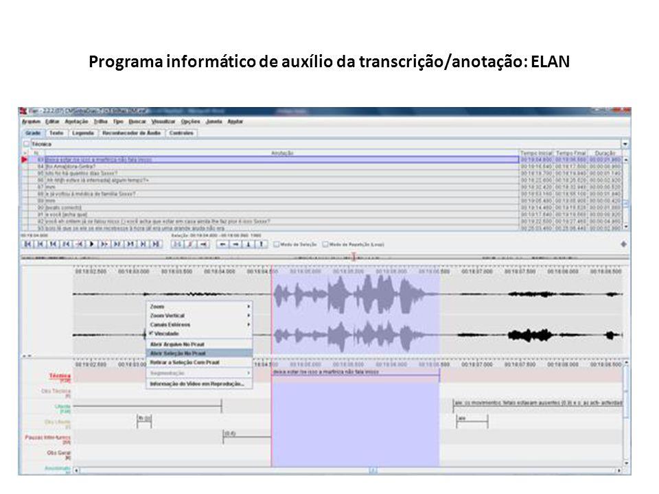 Programa informático de auxílio da transcrição/anotação: ELAN